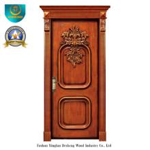 Porta Clássica Europeia de Madeira Maciça com Escultura (ds-8009)