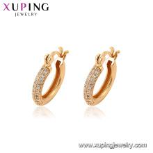94597 Nuevas mujeres de moda de oro joyería de moda zircon micro pavimentado pendientes de aro para la venta