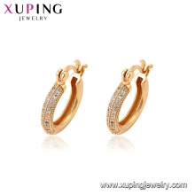94597 New trendy gold fashion women jewelry zircon micro paved hoop earrings for sale