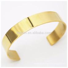 Personalizado logotipo de aço inoxidável simples ouro bracelete de punho em branco para homens e mulheres