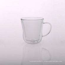 Tasse à thé en verre à double paroi en borosilicate