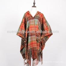 Poncho de xale com manta 100% lã