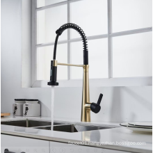 YLK3025BG 2021 high quality single hole brass kitchen faucets with pull down sprayer sink kitchen