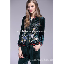 Primavera de las mujeres Slim Blazer corto bordado de la chaqueta de flores impresas chaqueta verde azul