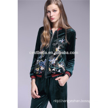 Spring Women's Slim Short Blazer Embroidered Coat Printed Flower Jacket Blue Green