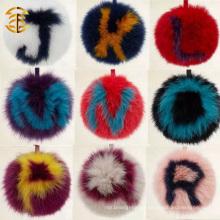 Soft Real Fox Fur Pom Poms Keychian Com Alfabeto
