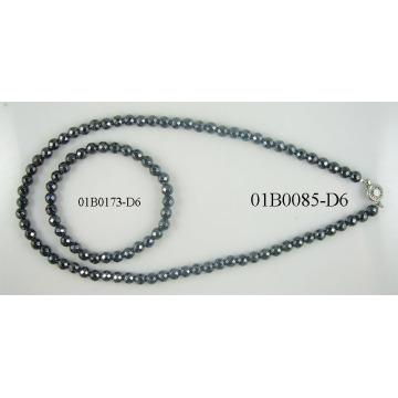 6MM hematita facetas redondas conjunto de joyas