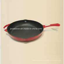 Round Enamel Cast Iron Skillet with Handle Dia 31cm