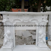 White Statue Surface Carved Marble Fireplace (SY-MF023)