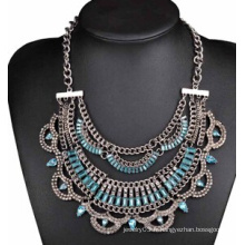 Collier en pierre bleue pleine d'alliage de placage antique (XJW13710)