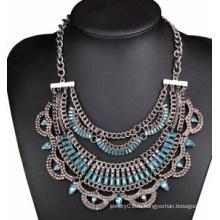 Античная Плакировка сплава полный синий камень ожерелье (XJW13710)