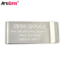 Clip d'argent vide en acier inoxydable brossé brillant souvenir en métal