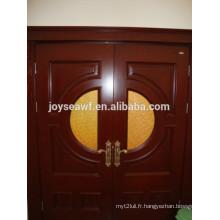 Revêtement de porte en placage en bois de haute qualité intérieur en verre