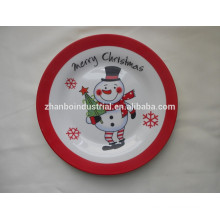 Ceramic flat plate with full decal porcelain dish for christmas souvenirs