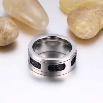 Custom Mens Wedding Band Dengan Inlay Kabel
