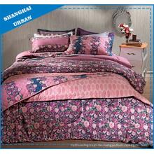 Polyester-Quiltset mit rosa Rosengarten-Print