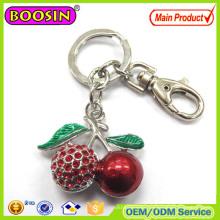 Rhinestone Cherry 3D Metal Keychain Custom Design Welcomed #15293