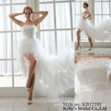 heavy lace ruffle tulle front short and long back wedding dress 2015 white prom dress long sexy white chiffon tulle prom dress