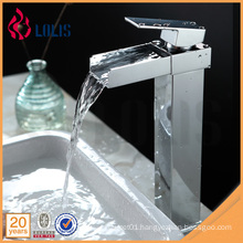 Chrome tall square brass bathroom basin waterfall faucet