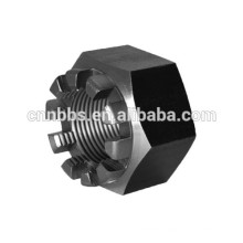 CNC custom parts OEM made steel hex castle nut, Full service offered