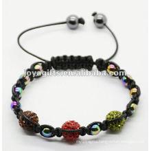 pink crystal ball woven shamballa bracelet,woven bangle