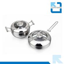 Moda ecológica tipo de metal de acero inoxidable utensilios de cocina juego de vasija