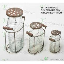 Suporte de vela de vidro com tampa de metal Garrafas de Nice