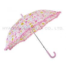 Ruffle Lace Reflective Kids Safety Open Umbrella