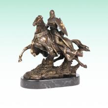 Cavaleiro Escultura De Metal Cavalo Soldado Deco Estátua De Bronze Tpy-451