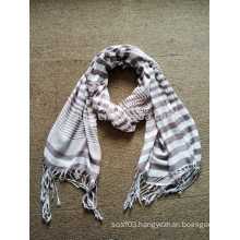 Fashion ladies viscose stripe fringe scarves