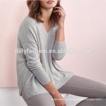 Camisola feminina de cashmere em malha de malha de estilo descontraído