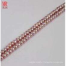 4-5mm Perle cultivée en fleurs de lavande Strand, bout en bout