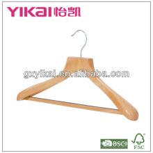 Cabide de madeira com ombro largo, barra redonda e tubo noen-slip