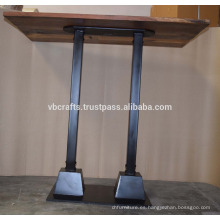 Base de tubería de metal industrial Tabla de madera superior reciclada