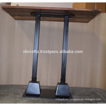 Industrial Metal Pipe Base Recycled Wooden Top Bar Table