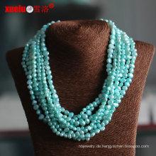 Multistrands grünes barockes kultiviertes Perlen-Halsketten-Großverkauf (E130113)