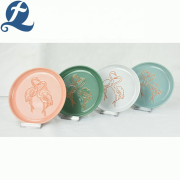 Hot sale ceramic fruit restaurant round custom plate for dinner