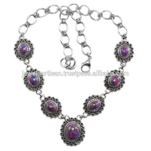Purple Copper Turquoise 925 Sterling Silver Necklace Jewelry