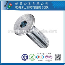 Fabriqué à Taiwan en acier inoxydable Zinc Plating Hex Drive Countersunk Head Machine Screw