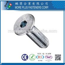 Feito em Taiwan Stainless Steel Zinc Plating Hex Drive Countersunk Head Machine Screw