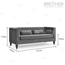 sofá clássico sofá da sala de estar sofá de veludo chesterfield