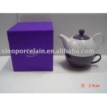 Pote de té de cerámica vidriada de color