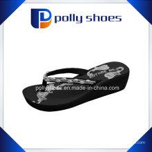 Black Thong Flip Flop Platform Wedge Sandales de plage Nouveau