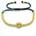 Fashion Men Bracelets,Leopard Head Beads & 4mm Silver Round Beads Braided Macrame European American cFor men