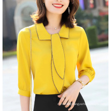 New Women Clothes Fashion Chiffon Bow Shirt Slim Temperament Wild