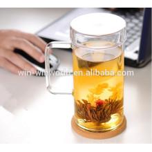 Vente en gros de tasse de thé mince en verre thermique de bulle mince avec la poignée et le couvercle