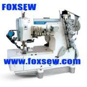 Máquina de coser plana Interlock con tapa y Buttom del hilo de rosca