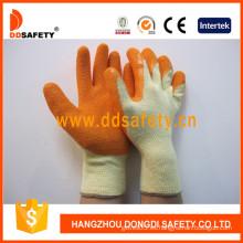 10 guantes de algodón de color naranja guantes de revestimiento de látex acabado arrugado (dkl321)
