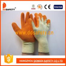 10 Gauge Coton Orange Latex Coating Gloves Crinkle Finish (DKL321)