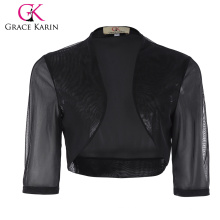 Grace Karin Womens Half Sleeve Cropped Short Black Chiffon Bolero Shrug Shawls CL010473-1